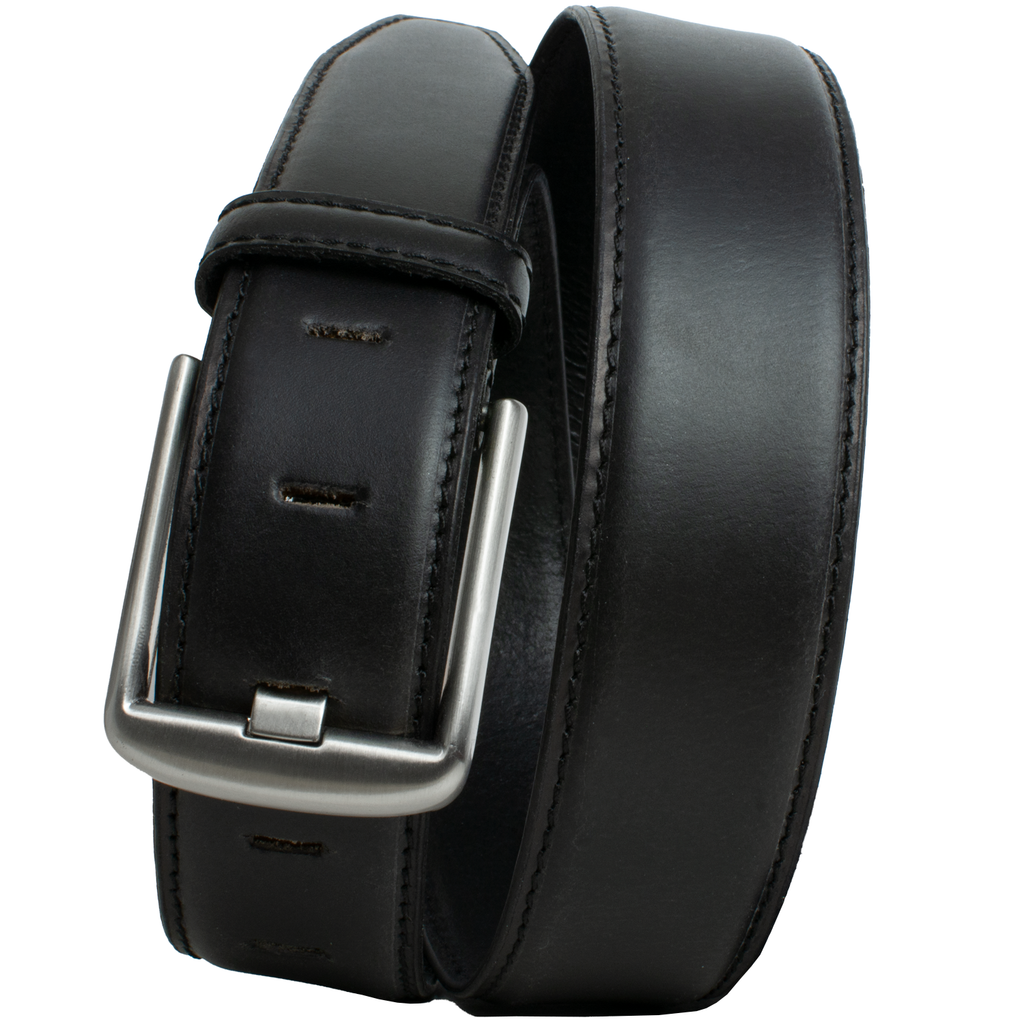 Black Wide Pin Belt || Black leather men's belt with dressy raised center and stitched edges and a custom wide pin silver buckle.