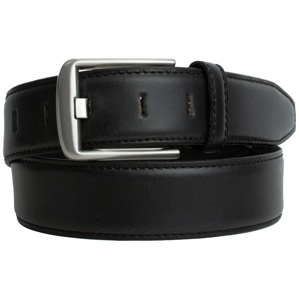 Nickel-Free Wide Pin Black Belt | Men's Belt | Black leather belt coiled and clasped