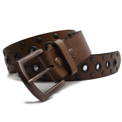 Nickel Free Belt - Womens Studded Brown Leather Belt By Nickel Smart® | Nonickel.com