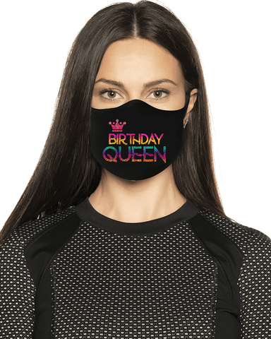 Birthday Queen Rainbow Holographic Face Mask