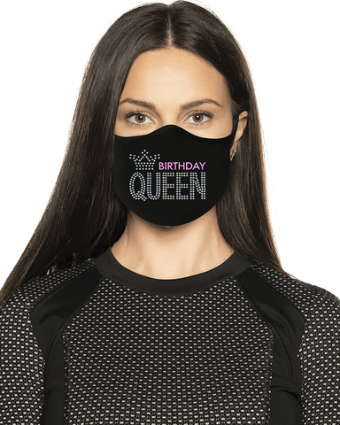 Birthday Queen Rhinestone Face Mask