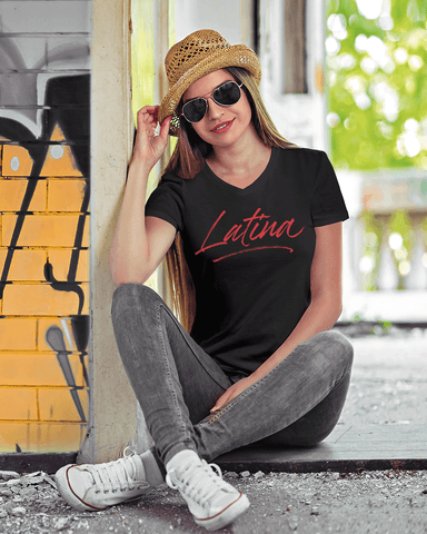 Latina Women's V-Neck T-Shirt by Necie Taylor