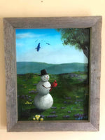 "John Kenward Original Painting in Barn Board Frame ""Snowman's Dream"" 16"" x 20"""