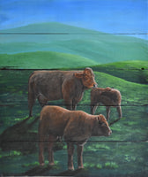 "John Kenward Original Painting on a Barn Board Panel ""Until the Cows Come Home"" 16"" x 19"""