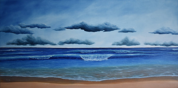 "John Kenward Original Acrylic and Oil Painting ""At the Beach"" 24"" x 48"""