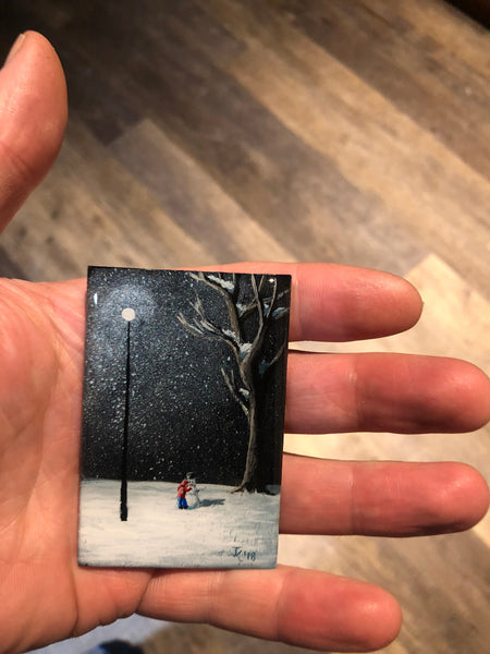 "John Kenward Original Miniature Painting/Fridge Magnet 2"" x 3"""