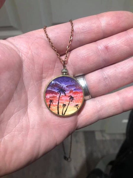 "John Kenward Hand Painted Sunset Palms ""Lucky Penny"" Pendant"