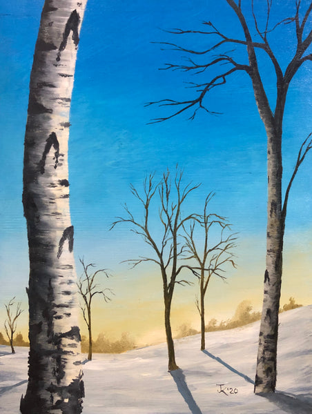 "John Kenward Original Painting ""Winter Birch I"" 12"" x 16"""
