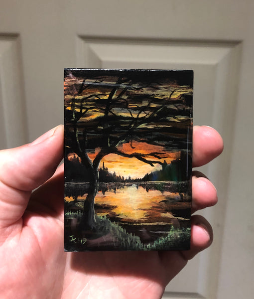 "John Kenward Original Painting ACEO 2.5"" x 3.5"" Sunset"