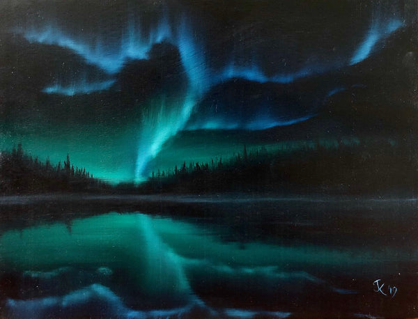 "John Kenward Original Painting ""Aurora Reflections"" 12"" x 16"""