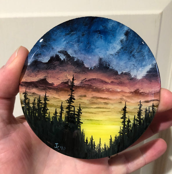 "John Kenward Original Painting  Sunset 4"" Diameter"