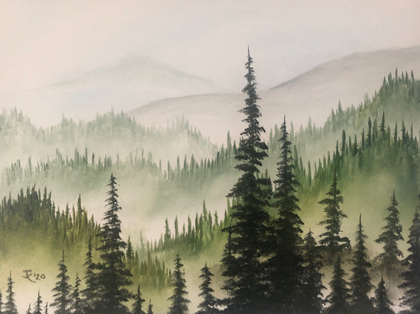 "John Kenward Original Painting ""Above the Fog"" - 12"" x 16"""