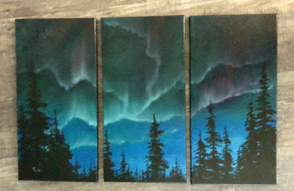 "John kenward Original Oil Painting ""Northern Wonder"" 10"" x 20"" (x3)"
