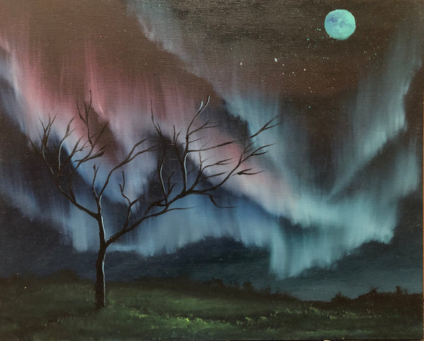 "John Kenward Original Painting 8"" x 10"" Northern Lights"