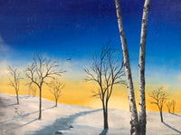 "John Kenward Original Painting ""Winter Birch II"" 12"" x 16"""