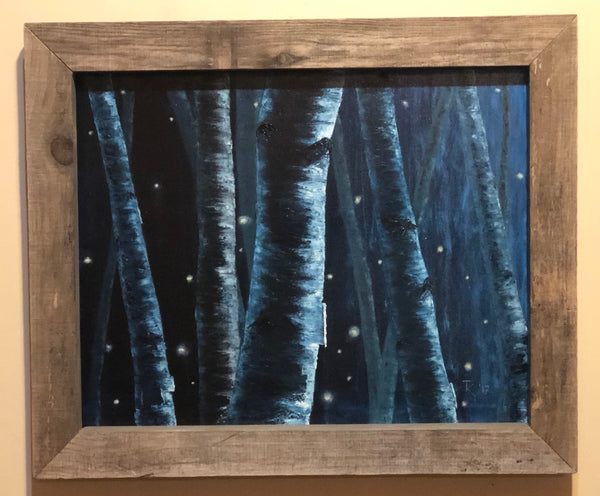 "John Kenward Original Painting in Barn Board Frame ""Night Birches"" 16"" x 20"""