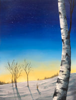 "John Kenward Original Painting ""Winter Birch III"" 12"" x 16"""