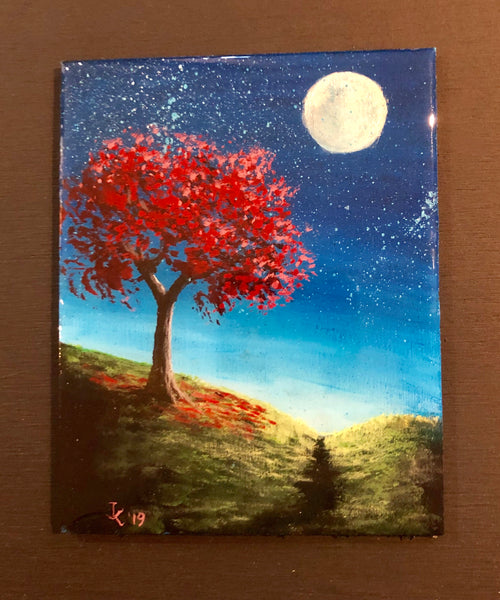 "John Kenward Original Painting 4"" x 5"" ""Autumn"""