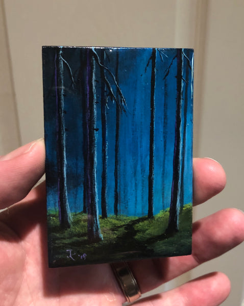 "John Kenward Original Painting ACEO 2.5"" x 3.5"" Mystical Forest"