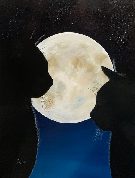 "John Kenward Original Painting 18"" x 24"" ""Moonlight Encounter"""