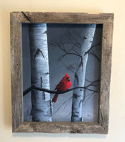 "John Kenward Original Painting in Barn Board Frame ""Quiet Reflections"" 16"" x 20"". ""Winter Visitor"""
