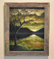 "John Kenward Original Painting in Barn Board Frame ""Quiet Reflections"" 16"" x 20"""