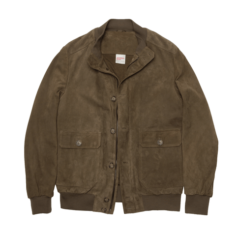 Suede Leather Bomber Jacket - Olive