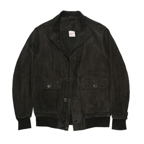 Suede Leather Bomber Jacket - Black