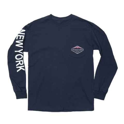 Navy Sky-Line Long Sleeve Pocket Tee