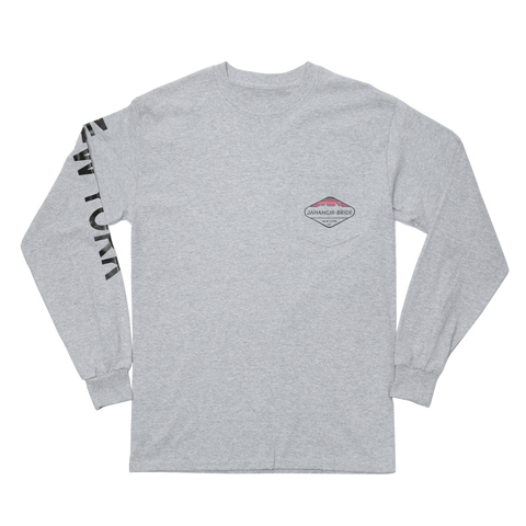 Grey Sky-Line Long Sleeve Pocket Tee