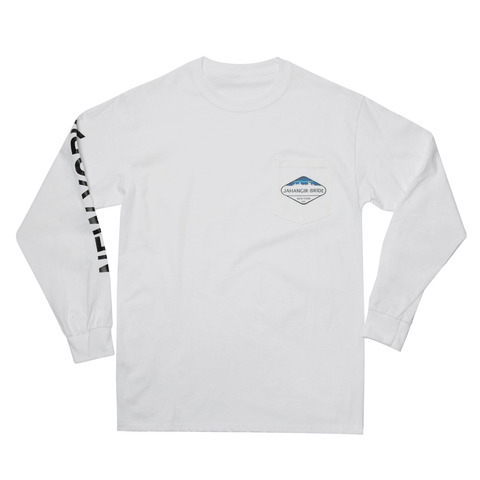 White Sky-Line Long Sleeve Pocket Tee