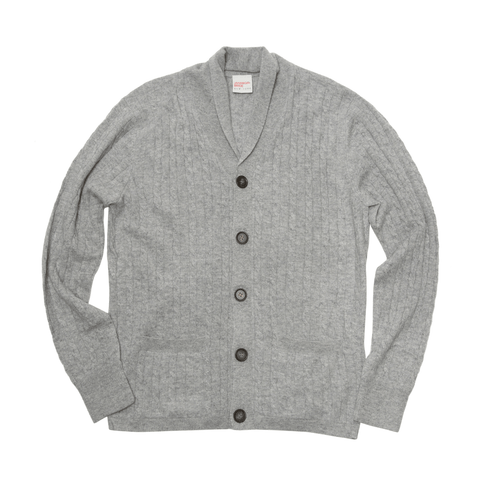 The Cashmere Shawl Collar Cable-Knit Cardigan - Glacier Heather