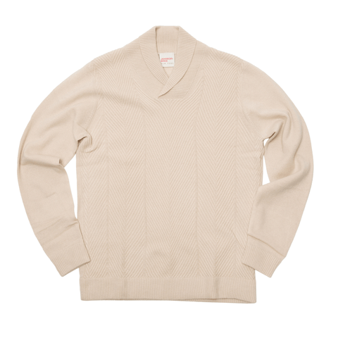 The Cashmere Shawl Collar Herringbone Sweater - Natural