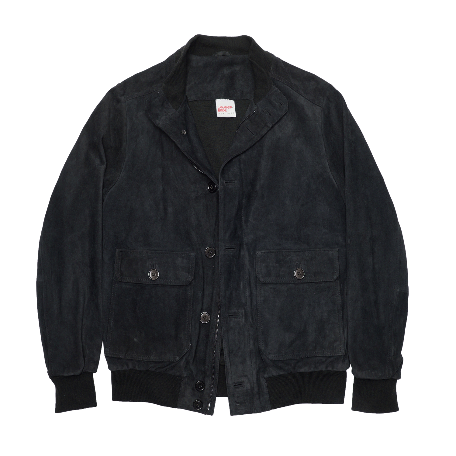 Suede Leather Bomber Jacket - Navy