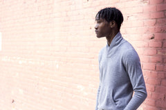 The Cashmere Shawl Collar Pullover - Glacier Heather