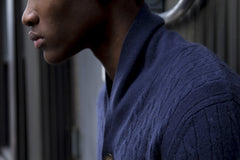 The Cashmere Shawl Collar Cable-Knit Cardigan - Midnight