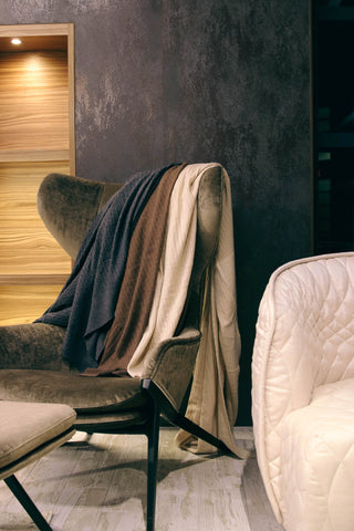 The Cashmere Cable-Knit Blanket - Morel