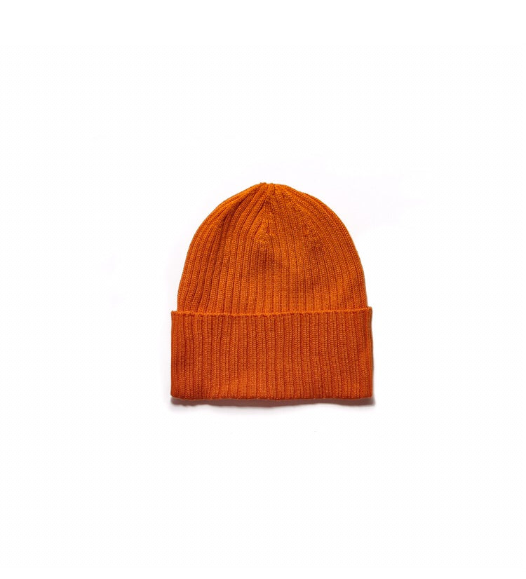Ribbed Orange Cashmere Beanie