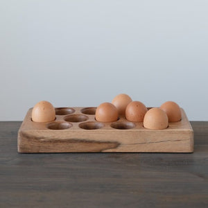 Acacia Wood Egg Tray (Holds 13 Eggs)