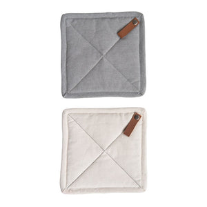 "8"" Square Cotton Pot Holder w/ Leather Loop (Set of 2)"