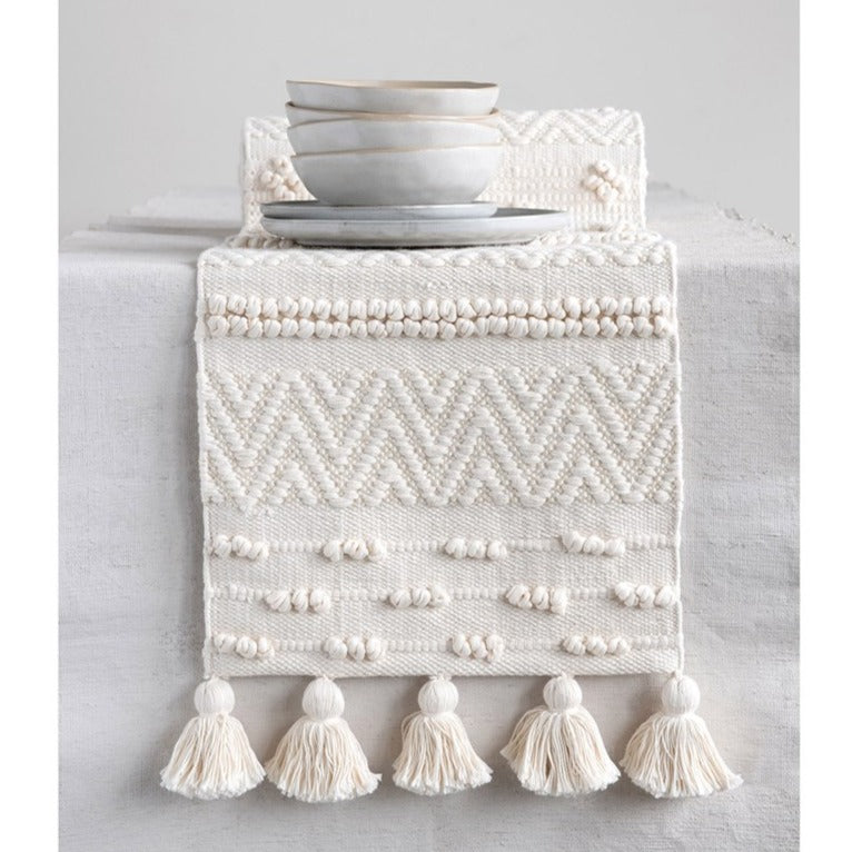 Woven Cotton Textured Table Runner w/ Pom Poms & Tassels
