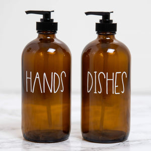 Amber Glass Soap Bottle - Hands