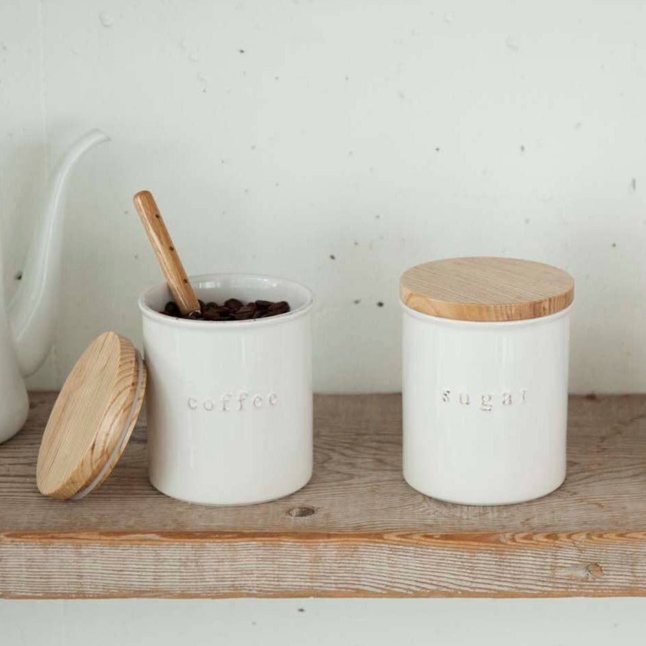 Coffee + Sugar Tosca Ceramic Canisters - Set of 2