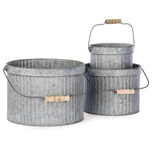 Round Metal Planters - Set of 3
