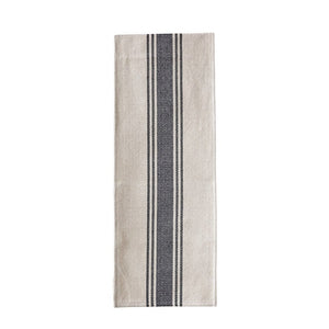 Cotton Canvas Table Runner w/ Stripes, Black