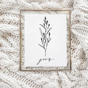 5x7 Grow Wildflower Calligraphy Print (frame not included)