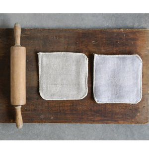 Neutral Square Cotton Pot Holders, Set of 2