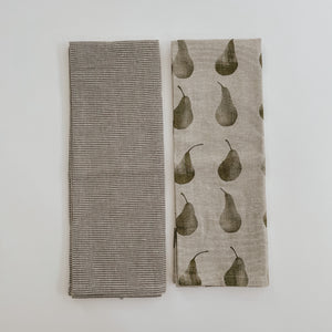 Khaki + Pear Tea Towel Set
