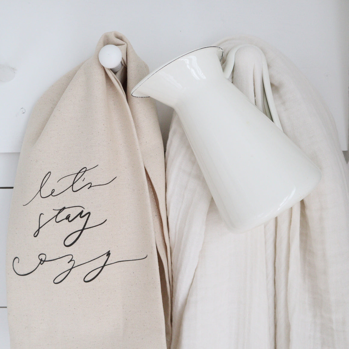 Let's Stay Cozy Tea Towel