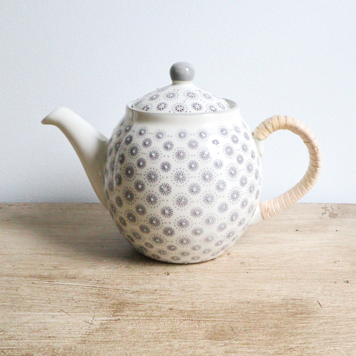 Stoneware Teapot with Grey Hand-Stamped Pattern & Rattan Wrapped Handle